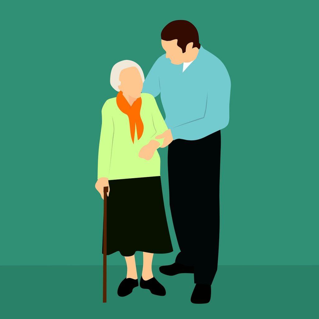 senior and caregiver graphic